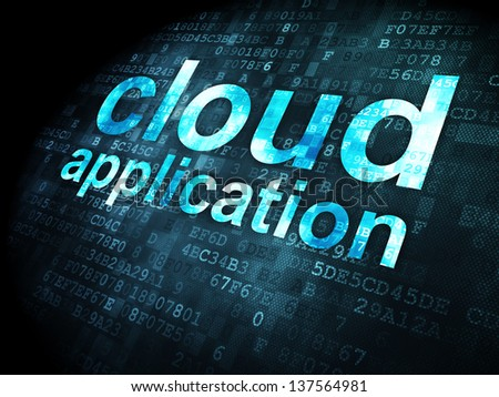 Cloud computing concept: pixelated words Cloud Application on digital background, 3d render - stock photo