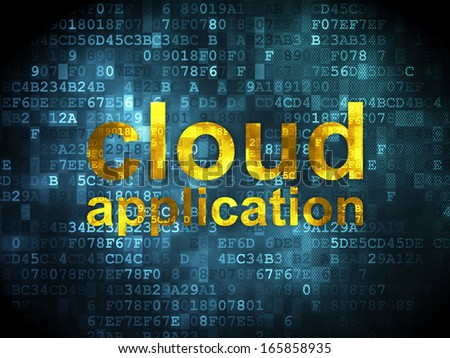 Cloud computing concept: pixelated words Cloud Application on digital background, 3d render