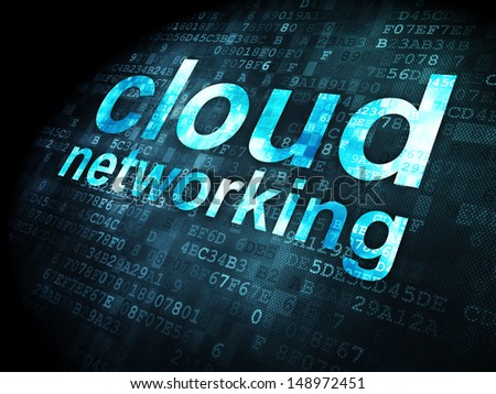 Cloud computing concept: pixelated words Cloud Networking on digital background, 3d render