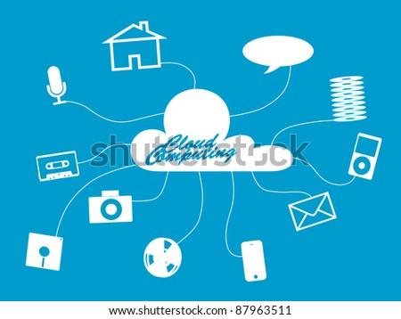 Cloud computing concept retro and modern - stock photo