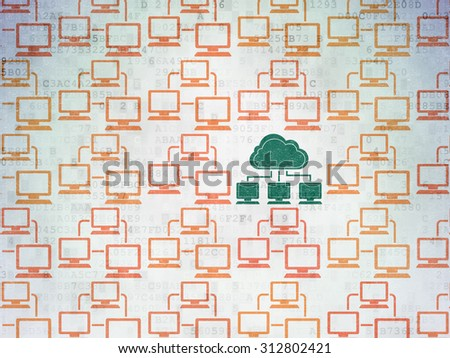 Cloud computing concept: rows of Painted orange lan computer network icons around green cloud network icon on Digital Paper background - stock photo