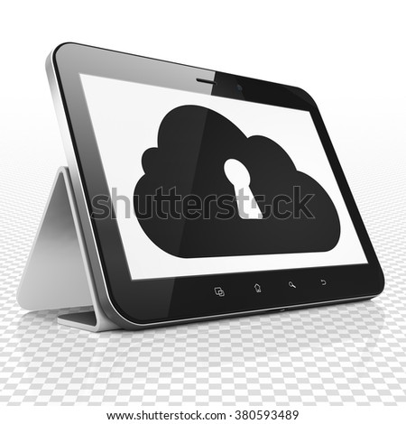 Cloud computing concept: Tablet Computer with Cloud With Keyhole on display