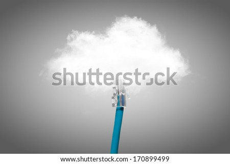 Cloud computing concept. Usb cable is connected to the cloud. - stock photo