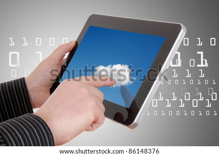 cloud computing concept - using cloud services on tablet - stock photo