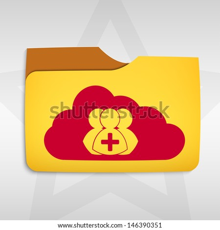 Cloud computing concept with cloud icon and folder - stock photo
