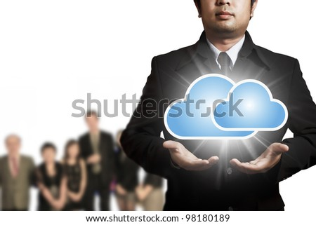 Cloud computing concept with copy space - stock photo