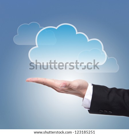 Cloud computing concept with copy space, business man hand palm holding cloud with blue sky background