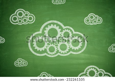 Cloud computing concept with couple clouds green background - stock photo