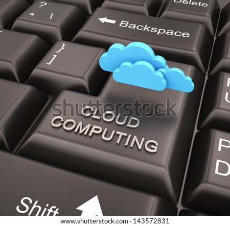 Cloud computing concept with keyboard - stock photo