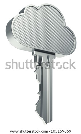 Cloud computing concept with metallic cloud and the key - stock photo