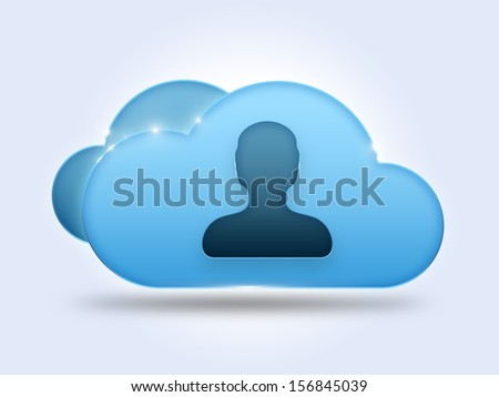 Cloud computing concept with user symbol