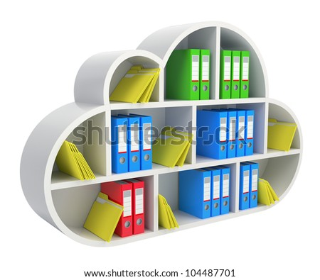Cloud computing concept with wooden shelf, folders and binders - stock photo