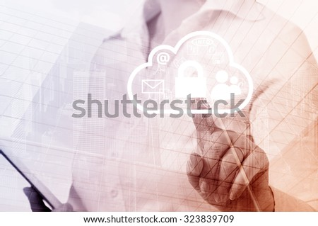 Cloud computing concept woman selecting virtual interface. - stock photo