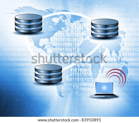 Cloud computing concept - world wide data sharing and communication - stock photo