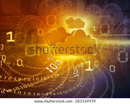 Cloud computing concept yellow background  - stock photo