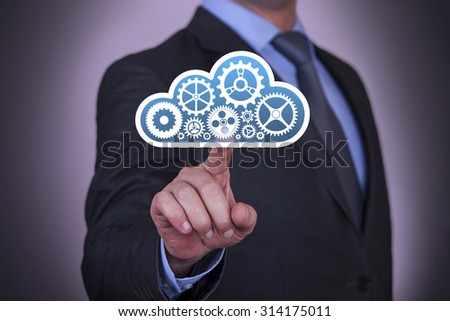 Cloud Computing Concepts Touching on Touch Screen - stock photo