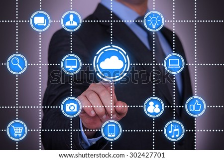 Cloud Computing Conceptual Connect Dots - stock photo