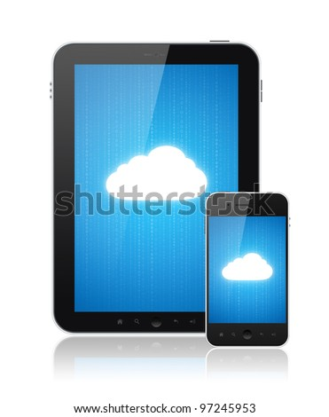 Cloud-computing connection on digital tablet pc and modern smart phone. Conceptual image. Isolated on white. - stock photo