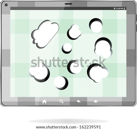 Cloud-computing connection on the digital tablet pc. Conceptual image, raster - stock photo
