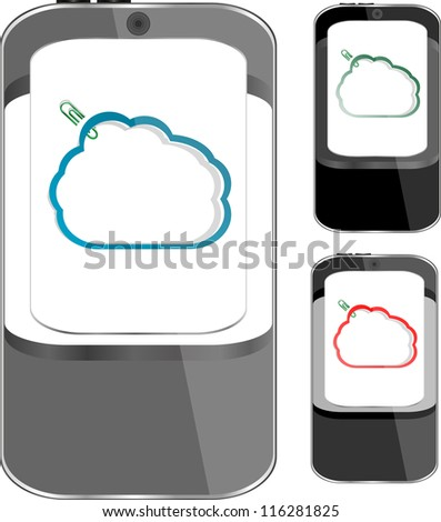 Cloud-computing connection on the mobile smart phone set. Isolated on white - raster - stock photo
