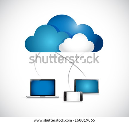 cloud computing connection to electronics. illustration design over a white background