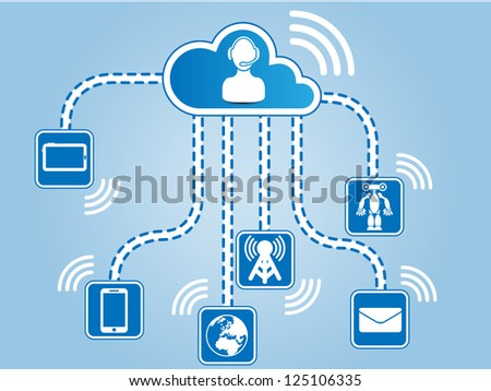 CLOUD COMPUTING CONNECTIONS - stock photo