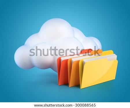 Cloud computing 3d concept - cloud with folders - stock photo