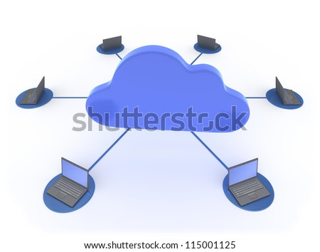 Cloud Computing 3D concept showing Laptops network linked to work with the Cloud Isolated on White Background - stock photo
