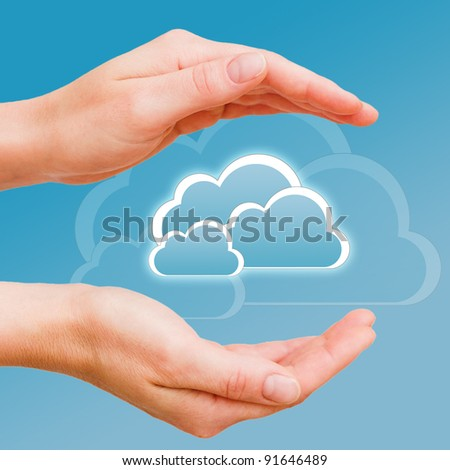 Cloud computing data concept - the data is in secure hands - stock photo