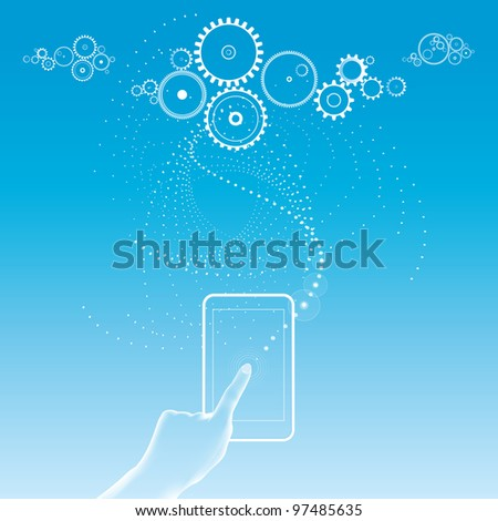 Cloud computing - data sotrage - social networking - web-based applications - apps - smartphone - stock photo