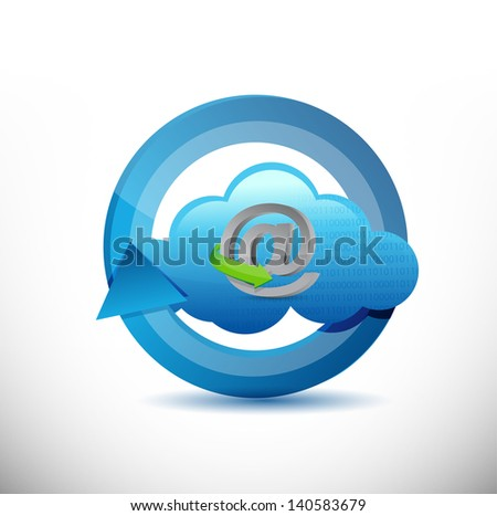 cloud computing 360 design concept illustration design over white - stock photo
