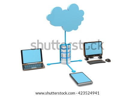 Cloud computing devices.3d render