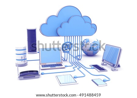 Cloud computing devices. 3d render