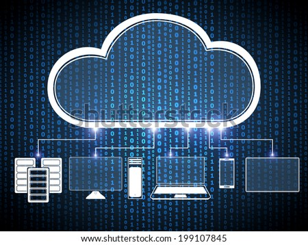 Cloud computing digital concept - stock photo