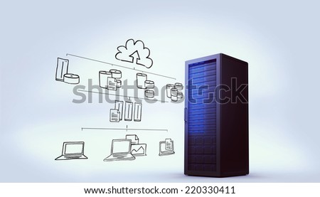 Cloud computing doodle against digitally generated black server tower - stock photo