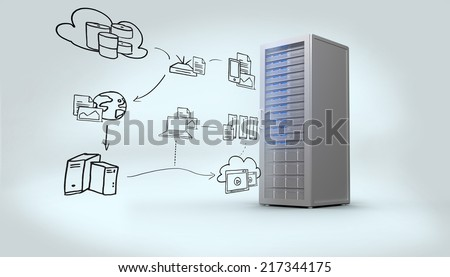 Cloud computing doodle against digitally generated grey server tower - stock photo