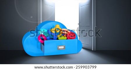 Cloud computing drawer against doors opening revealing light - stock photo