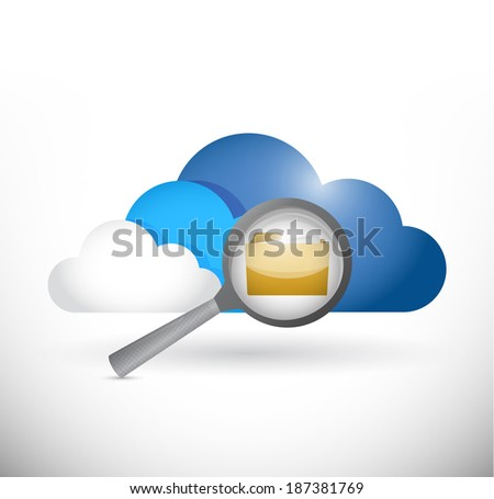 cloud computing folder information review illustration design over a white background - stock photo
