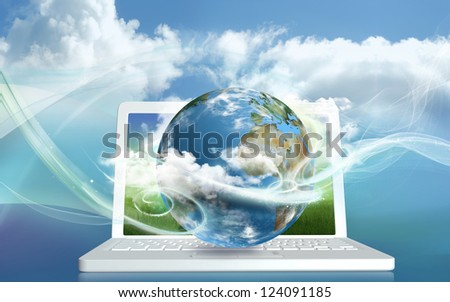Cloud Computing from a Laptop into Clouds - stock photo