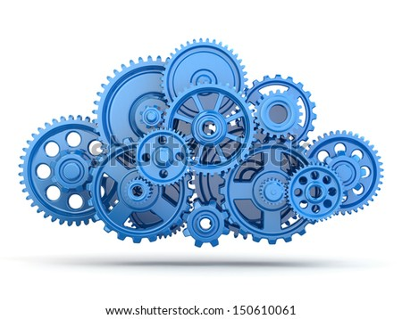 Cloud computing from gears on white isolated background. 3d - stock photo