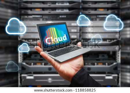 Cloud computing from laptop - stock photo