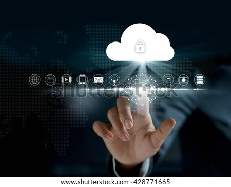 Cloud computing, futuristic display technology connectivity concept - stock photo