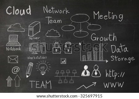 Cloud computing icon draw with chalk on blackboard - stock photo