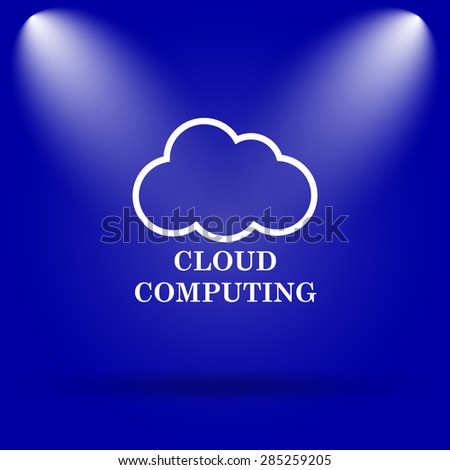 Cloud computing icon. Flat icon on blue background.