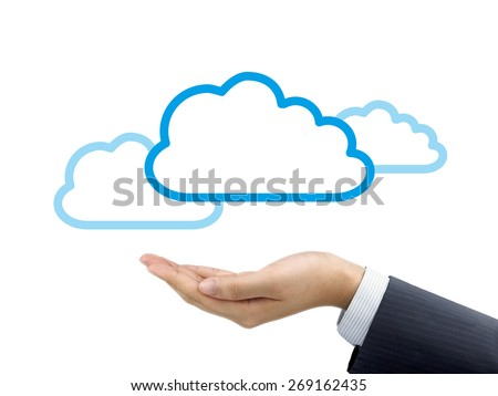 cloud computing icon holding by businessman's hand over white background