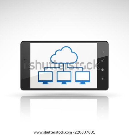 cloud computing icon on mobile phone isolated on white  - stock photo