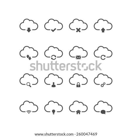 Cloud computing icons. Vector available. - stock photo