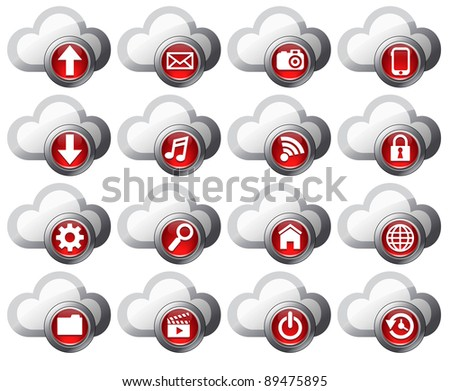 Cloud Computing icons - Virtual cloud icons upload, download, restore, backup and save computer files and digital media - Raster Version - stock photo