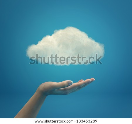 Cloud computing illustration - stock photo