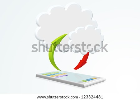 Cloud computing illustration with smartphone - stock photo